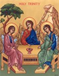 Trinity icon by Rublev with tree in background